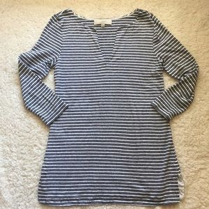 Ann Taylor Loft slit neck striped tunic